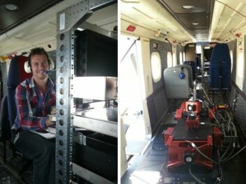Left: Trond Løke, NEO, during a test flight. Right: Odin mounted in the aircraft cabin. (Photo: ONERA and Trond Løke)