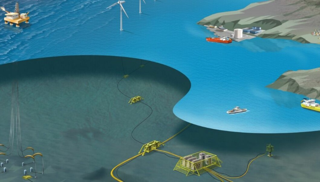 Subsea installations can get longer life-time with self-repairing materials. (Illustration: SINTEF Energy)