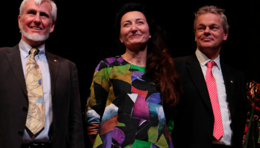 Nobel Laureates John O'Keefe, May-Britt Moser and Edvard Moser on stage after their Nobel Lectures at the Karolinska Institutet in Stockholm. (Photo: Gunnar K. Hansen, NTNU)