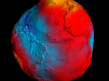 A representation of the various levels of gravity on the Earth, as detected by ESA's gravitational measurements from the GOCE satellite. The colouring and the exaggerated misshaping of our planet indicate higher and lower levels of gravity. (Illustration: ESA)