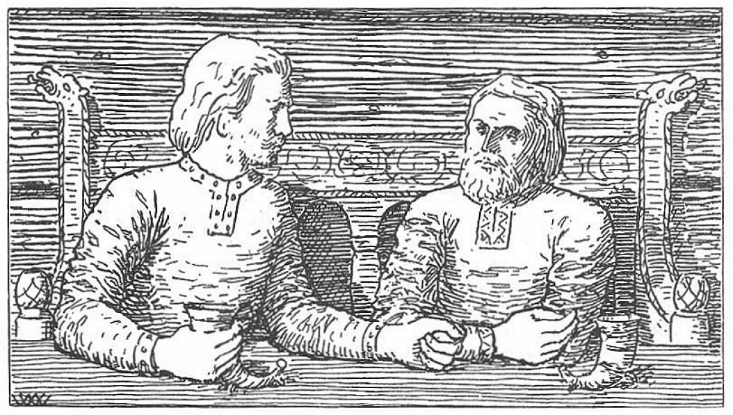 Illustration from Harald Hardråde's saga. It does not show Sarcastic Halli, but Harald and Svein who sat and drank.