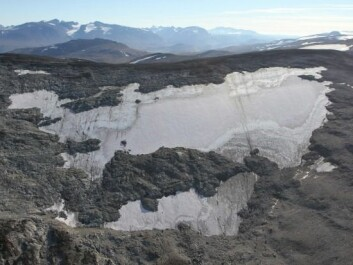 Lendbreen in Oppland County is one of Norwegian glaciers that hides archaeological treasures. The picture is taken from a helicopter during the field season of 2014. (Photo: Oppland county)