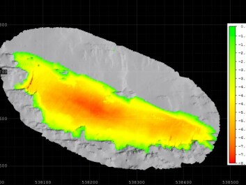 The illustration shows the snow volume changes on Kringsollfonna from August 2013 to September 2014, as measured by a terrestrial laser scanner. Eight meters of ice have melted in the centre. (Illustration: Radmil Popovic, NTNU)