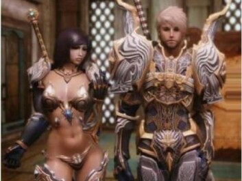 "In online computer games, extremely gender stereotypical characters are the norm. The term ""same item - same stats"" refers to the characters' armour; they have different design but the same effect."