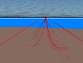 The figure show the risers connecting the well at seabed to the platform. The mooring lines, which keep the platform in the right place, are also shown. The mooring lines are the outer lines in the figure. (Illustration: Sintef)