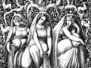 Urd, Verdande and Skuld, also called Norns in Norse mythology, are the three goddesses of destiny. They sit in Åsgård at the roots of the world tree Yggdrasil. One of their tasks is to pour white sand over the tree roots. (Illustration: Die Helden und Götter des Nordens, oder Das Buch der Sagen. G. Gropius)
