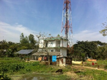 This mobile phone base station clad with photovoltaic solar cells supplied electricity to 136 households and two temples in the village, through a so-called mini-grid. (Photo: Hanne Cecilie Geirbo)