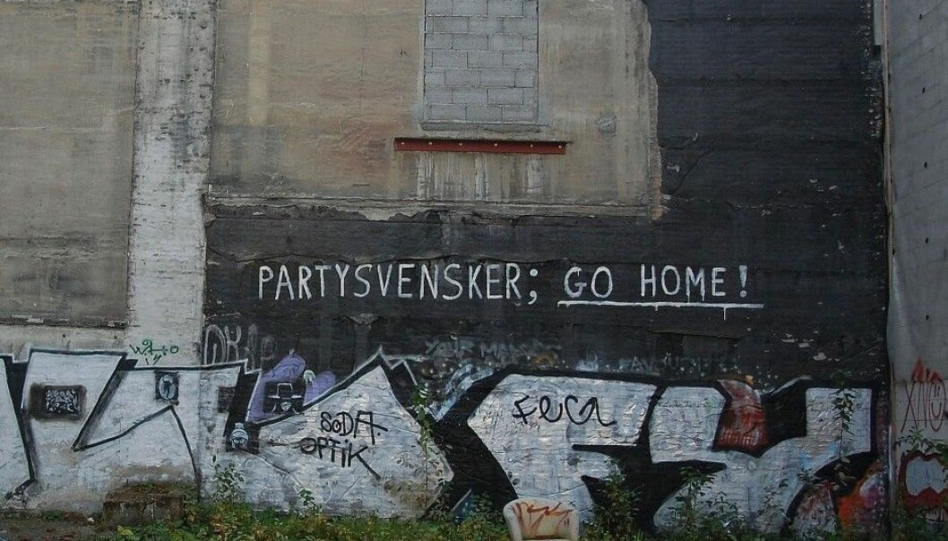 Party Swedes; go home! A clear message left for Swedes on an Oslo wall – but is it funny or racist? The graffiti was left untouched for three years. (Photo: Anne-Sophie Ofrim, made available from Wikimedia Commons under license)