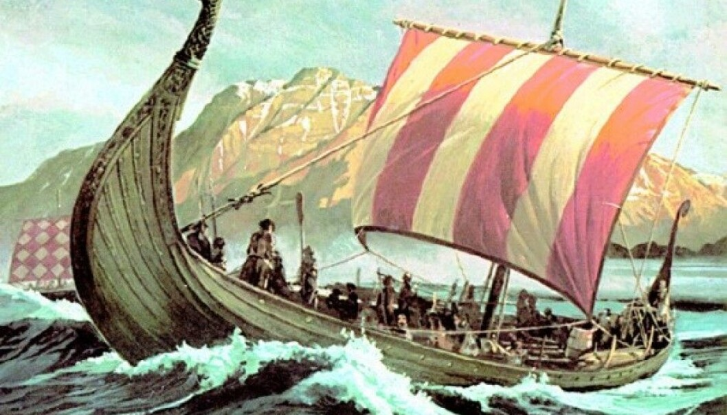 Without sails, the Vikings wouldn't have come far with their ships. While the men who built the ships are mentioned by name in the history books, the women who were responsible for weaving the sails are not mentioned at all. (Illustration: Wikimedia Commons)