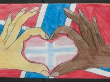 As in this example, the values of love, unity and diversity are repeated in many of the drawings. The heart symbolizes love, the hands unity and the different skin colours represent diversity. (Illustration: The National Archives of Norway)