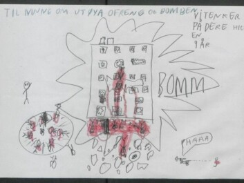 "This detailed drawing by a nine-year old shows the bomb, the shooting on Utøya and the perpetrator who seems to enjoy his own evildoing. The text above says ""In memory of Utøya victims and the bomb. We are thinking of you. Regards NN 9 years old ""(Illustration: The National Archives of Norway)"