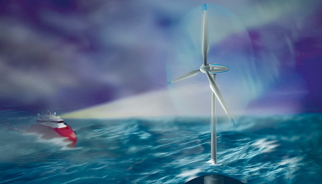 Offshore wind turbines often operate under harsh conditions that require solid technology and robust operations. Wind turbines are one focus area that the new research centre is concentrating on. (Illustration: Bjarne Stenberg, Sintef)