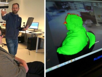 The Kinect game controller has a depth sensor and captures motion, and can be used for fast, rough 3D scanning. (Photo: From video by Arnfinn Christensen)