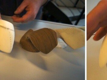 Left: Project stages starting from beluga vertebra, with repeated machining of printed 3D models and new scans. Right: Model of the finished ergonomic computer mouse. (Photo: Arnfinn Christensen)