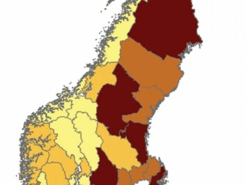 The map shows where ecocentric (dark color) people responded in Sweden and Norway, by county. Swedes see themselves as part of nature, more than the Norwegians do. (Photo: From the study)