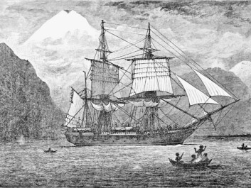 HMS Beagle travelling through the Strait of Magellan, as imagined by an artist. (Photo: R. T. Pritchett)
