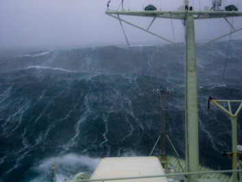 The R/V Knorr in storm conditions near Iceland where there was a large transfer of heat and moisture from the ocean to the atmosphere. (Photo: Kjetil Våge)
