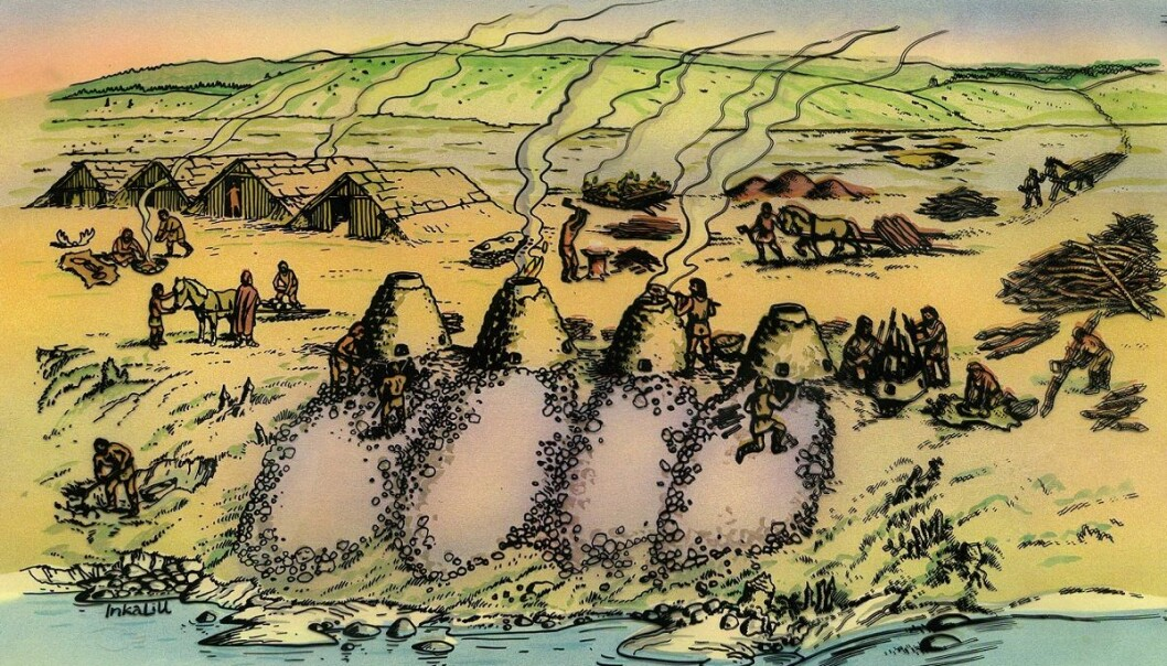Furnaces, often four in a row, with the equally large slag piles indicating that all the furnaces were run as a unit simultaneously. Each furnace ran on a cyclical program, until the slag pit was full. (Illustration: Inkalill)