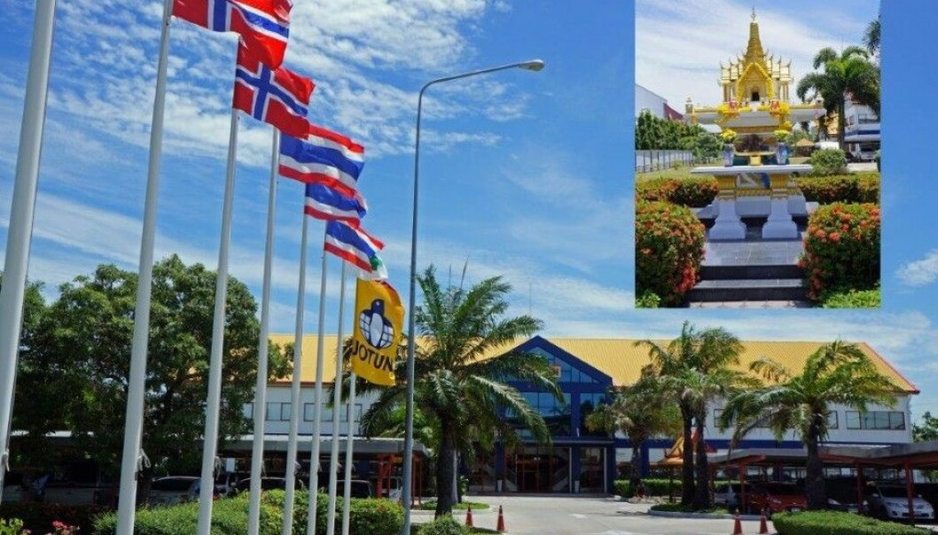 Jotun was among the three Scandinavian companies that was best liked by foreign middle managers in a study conducted in Bangkok. Jotun built a temple outside of its factory at the request of its workers, said Sverre M. Knudsen, Jotun's communications director. (Photo: Jotun)