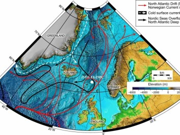 The map shows oceans currents in the Northern Atlantic Sea. Red arrows show the hot surface currents from south to north, including the Gulf stream. White dotted lines illustrates cold surface currents around the ice of Greenland and black arrows show cold deep water currents from the Arctic to the south. White dot next to the Faeroe islands marks the location of one the sediment samples Ezat has used in his work. (Map: Mohamed Ezat)