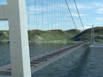 The new, ferry-free E39 vil include lots of bridges. This bridge is planned over Sognefjorden. (Illustration: Norwegian Public Roads Administration, Vianova)