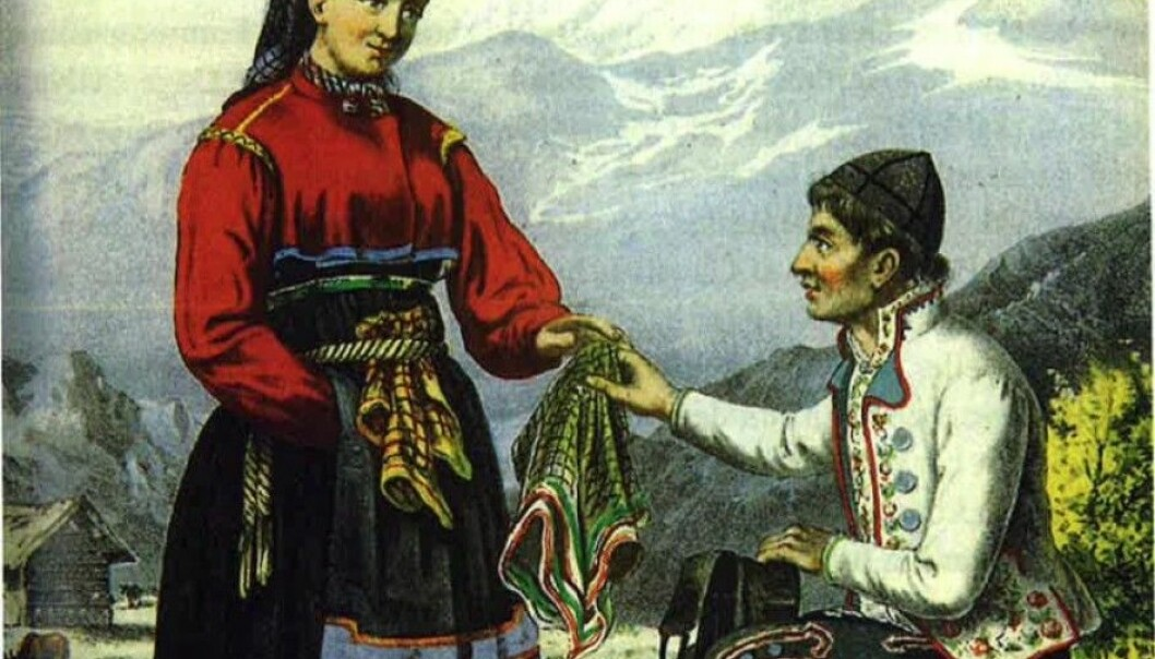 Illustration of a young couple from the publication Norsk bondeliv [Norwegian farmer's life], published in the 1850s. (Picture: Adolph Tidemand)
