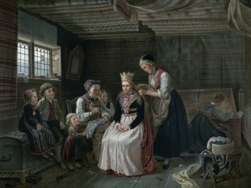 This illustration by Adolph Tidemand shows the extensive process brides went through to prepare for the wedding ceremony. (Photo: Wikimedia Commons, National Library of Norway)