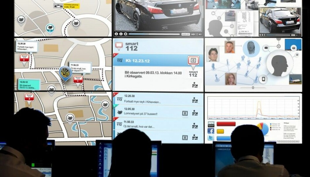 Here's how researchers think computer tools will help police do their job. Risk areas on digital maps, linked to information on social media, surveillance cameras and other databases, will all be combined and visible on a big screen at the operations centre. (Illustration: Birgitte Blandhoel, Norwegian Board of Technology)