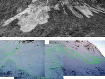 The pictures show the same avalanche area as recorded by radar imagery and by a conventional camera out in the field. The conventional photographs confirm what the radar images suggest, which is that there was an actual avalanche. (Picture: Norut)
