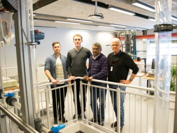 The UiS team, from left: Students Tor David Østvold and Einar Marvik, Senior Engineer Herimonja A. Rabenjafimanantsoa and Professor Rune Wiggo Time. (Photo: Leiv Gunnar Lie, UiS)