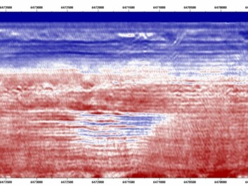 Seismic model that shows thin layers of Co2 at the Sleipner field in 2008. The variations of the sound are represented by different colours. Red is high speed, blue is low.