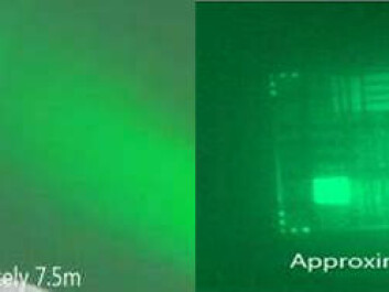 Detail of the first prototype camera showing the aperture from which a laser beam is emitted (right). The camera aperture is shown on the left. (Photo: SINTEF)