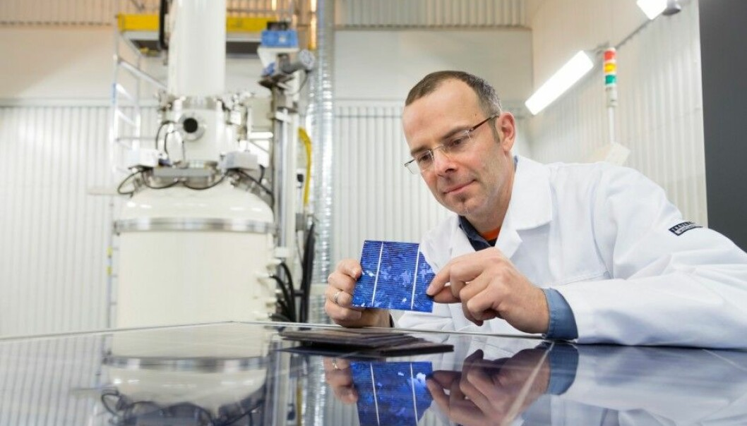 "Utilising solar cell materials that would otherwise end up on waste sites, is an important aim of the EU ""EcoSolar"" project, which is coordinated by SINTEF Research Scientist Martin Bellmann. (Photo: Thor Nielsen, SINTEF)"