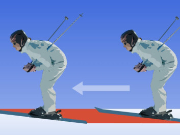 The red field shows loose snow that a skier presses down. This compaction uses up energy, reducing the speed of the skier.  (Figure: Arnfinn Christensen, forskning.no, after the original in the book The Physics of Skiing)