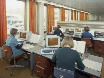 A study of weight and activity among adults in Norway using data collected between 1974 and 1994 showed that women with jobs that were sedentary or involved light physical work actually had lower BMIs than those who were more active throughout the period. The picture shows women in front of computers by Storebrand Idun Insurance Company in 1976. (Photo: digitaltmuseum.no, license: CC BY-SA)