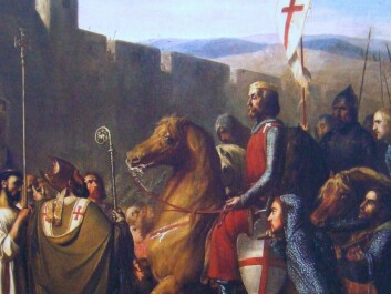"Baldwin of Boulogne came to Edessa in modern Turkey on the way to Jerusalem. This was said to have happened in 1098, two years before Baldwin became king of Jerusalem. The painting is from 1840 and shows a typical romanticized image of the Crusaders. (Photo: J.Robert-Fleury, ""Les Croisades, origines et consequences"")"