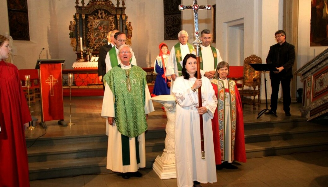 Religious freedom trumps women's rights in Norwegian politics and law, according to a new PhD thesis. The photo is from a church service during the Church Meeting in 2010. (Photo: Church of Norway.)