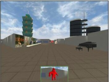 This screen dump shows a person approaching the goal in the virtual locale used in the test. (Graphics: Asta Håberg)