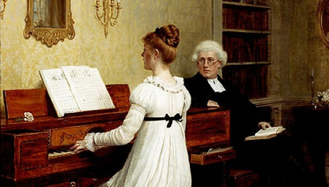 "The norm that young cultured women from the bourgeoisie played the piano spread across Europe in the nineteenth century. The painting ""The piano lesson"" is from 1896, painted by the British artist Edmund Blair Leighton. (Wikimedia commons.)"