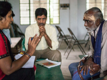 VKCs provide an important platform for farmer interaction, not only with other farmers but also with scientists, government agencies and other stakeholders, as well as women involved in agriculture. Here Dr. V. Geethalakshmi from Tamil Nadu Agricultural University (TNAU) and Project director Udaya Sekhar Nagothu from NIBIO gets input from a farmer in Tamil Nadu. (Photo: Ragnar Våga Pedersen.)