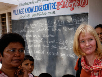 """I'm impressed to see that the VKCs also have developed into extensive information hubs, not only for agriculture, but for additional services within for example health, livestock research and social services,"" says CEO at NIBIO, Ms. Alvhild Hedstein. Here together with Ms. Nancy J Anabel, Director of Information, Education and Communication at M S Swaminathan Research Foundation (MSSRF). (Photo: Ragnar Våga Pedersen.)"