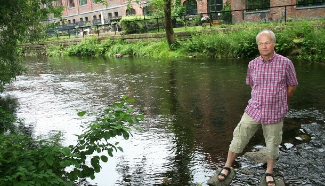 The polluted Akers river without fish has become a healthy watercourse with salmon and trout. Here is scientist Svein Jakob Saltveit in front of Lilleborg, a former soap and detergent factory, now gentrified into modern flats in idyllic surroundings. (Photo: Andreas R. Graven)