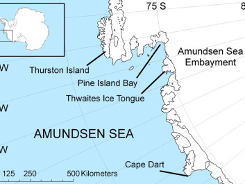 The Amundsen Sea continental shelf spans about 315000 square kilometers and extends approximately 300 kilometers in an east-west direction. (Map: Polargeo/Wikimedia commons.)