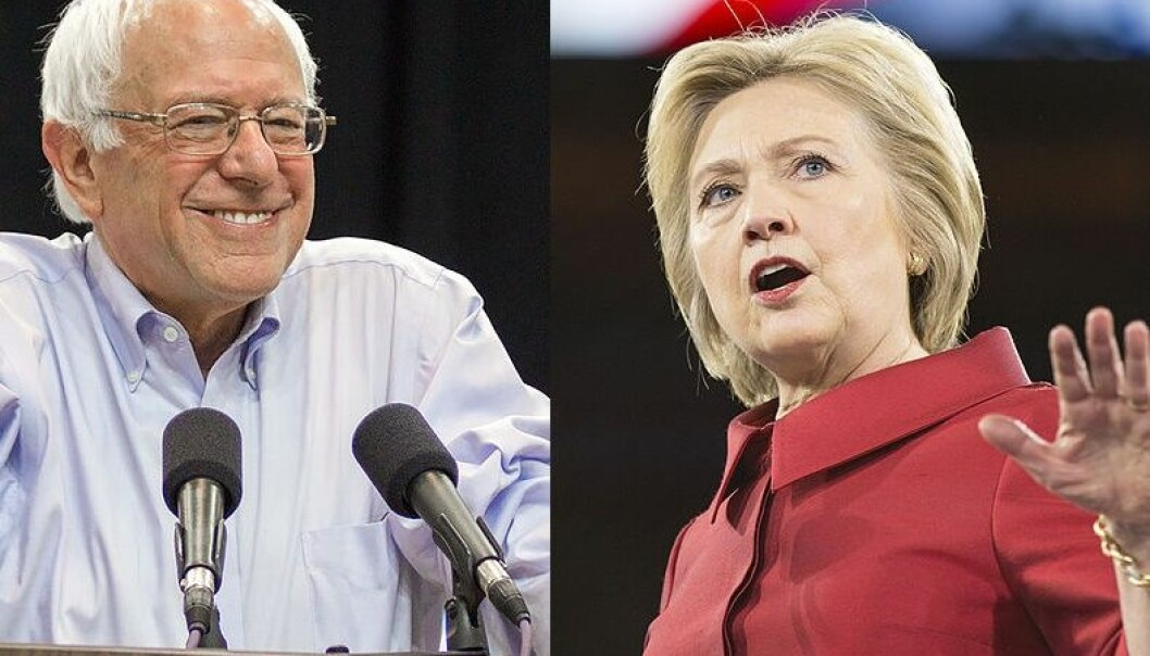 Usually US presidential candidates move more toward the political centre after a national convention, but Bernie Sanders wants Hillary Clinton to move more to the left. (Photo: Nick Solari/Wikimedia commons and lorie shaull/Wikimedia commons - edited by sciencenordic.com)