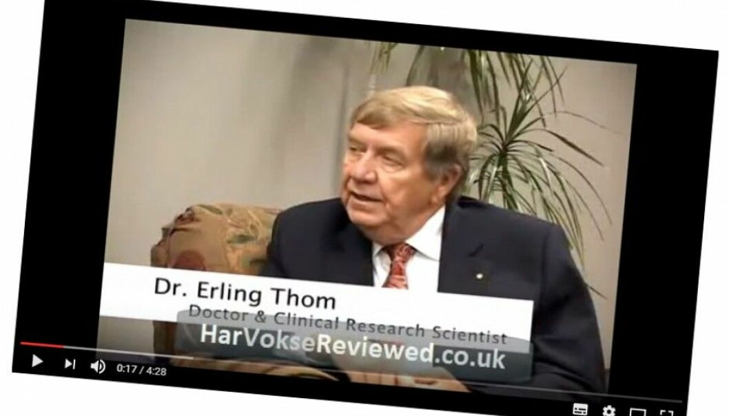 Screenshot from YouTube: Erling Thom promoting a product called HarVokse, designed to improve hair growth. (Photo: (Video owned by HarVokseClinic.com.))