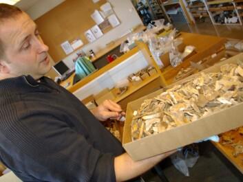 Sean Dexter Denham holds up a box of unmatched bone fragments. (Photo: Bjørnar Kjensli)
