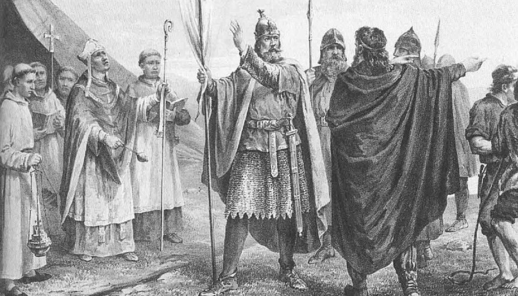 An artist's depiction of Olaf Tryggvason when he became king of Norway in 995 AD. Tryggvason is known for converting Norwegians to Christianity, often through violence or threats. He took hostages more than once to get his way. (Graphic art: Peter Nicolai Arbo [1831-1892])