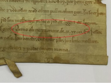The red circle shows the dating of the letter: anno ab Incarnation March 12, 1225. (Photo: Jo Rune Ugulen / National Archives / edited by forskning.no)