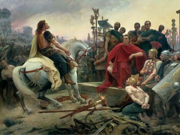 Julius Caesar wins the Gallic Wars, as portrayed by the French painter Lionel Royer. The mounted Gallic Chieftain Vercingetorix throws down his weapons and the feet of Julius Caesar. (Painting: Lionel Royer)