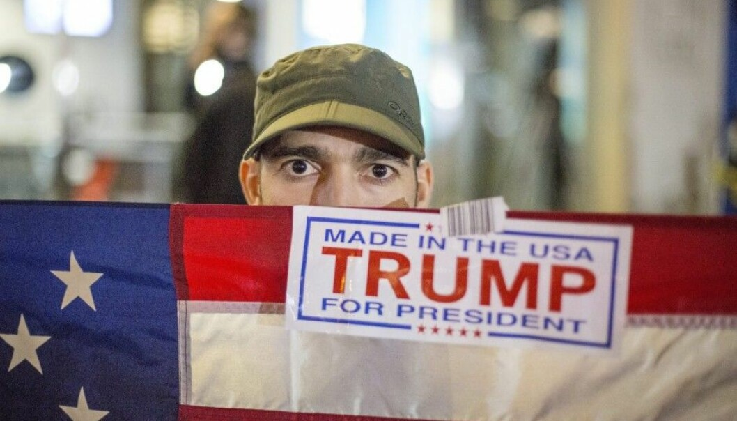 A jubilant Trump voter in New York. (Photo: Anders Ahlgren, NTB scanpix)